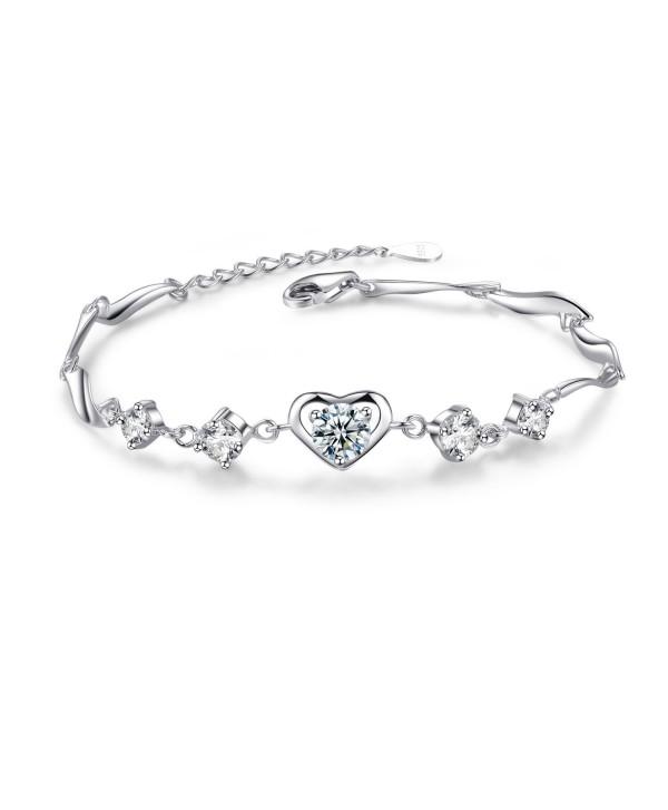 Heart Bracelet For Women- Sterling Silver Love Heart Adjustable CZ Charm Bracelet - CX1874IYNYL
