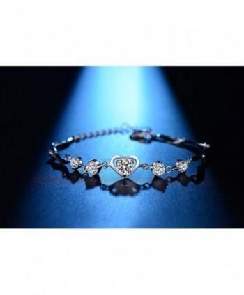 Heart Bracelet Sterling Silver Adjustable