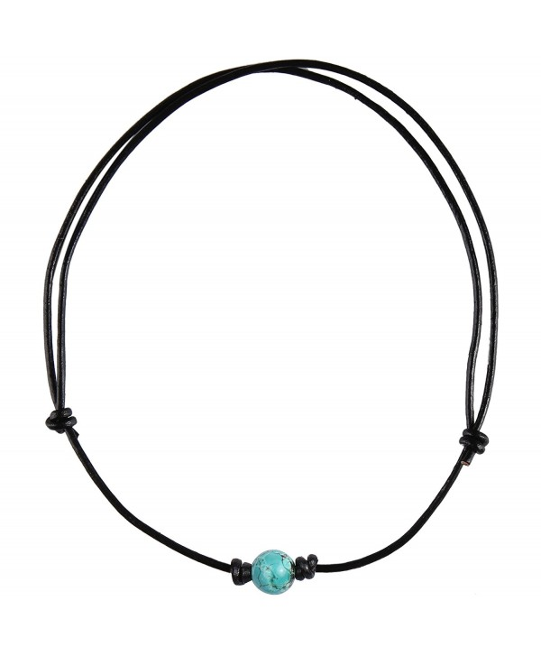Barch Single Turquoise Choker Necklace on Black Leather Cord - CM12N5NIIDC