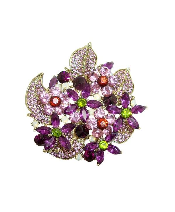 TTjewelry Gorgeous Flower Cluster Purple Austria Crystal Brooch Pendant - CZ125YWU3BV