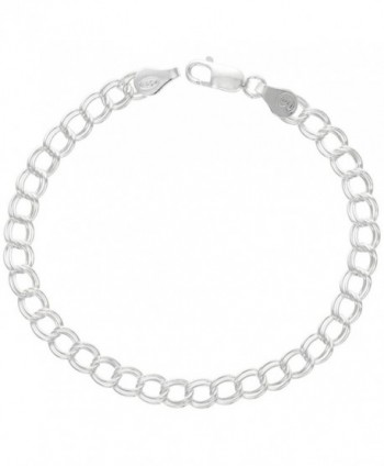 Sterling Silver Double Link Charm Bracelet Anklet Necklace 5.3 mm light Nickel Free Italy- 7-16 inch - CS1126WF4OJ