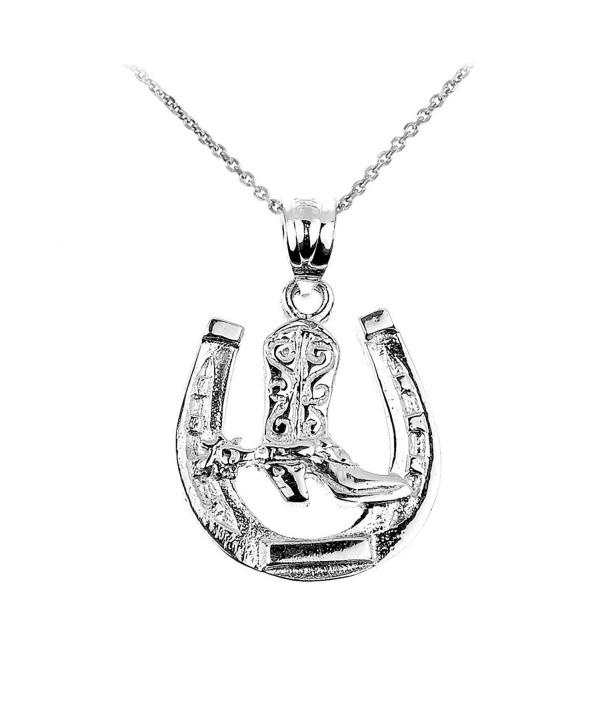 925 Sterling Silver Lucky Horseshoe with Cowboy Boot Charm Pendant Necklace - CS126UD219Z