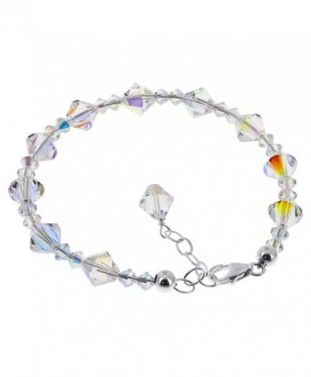 Gem Avenue Sterling Silver Made with Swarovski Elements Clear AB Crystal Handmade Bracelet 7 to 8 inch Adjustable - CC1123OM2SV