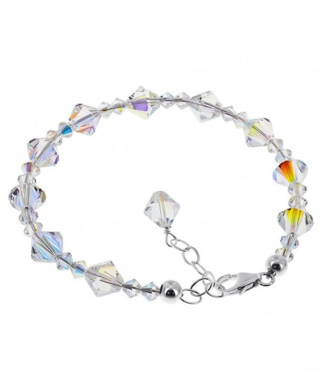 Gem Avenue Sterling Silver Made with Swarovski Elements Clear AB Crystal Handmade Bracelet 7 to 8 inch Adjustable - CC1123OM2SV