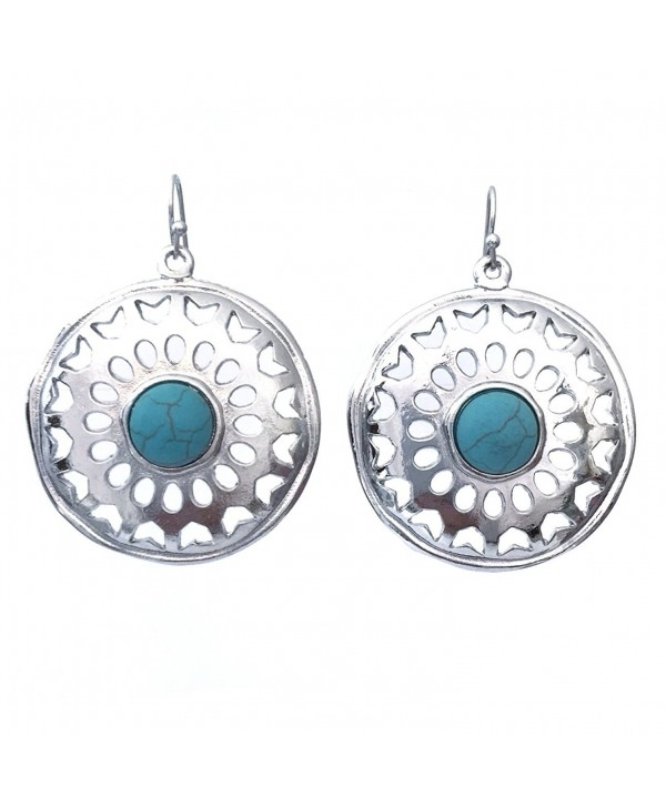 Round Western Look Blue Simulated Turquoise Silver Tone Southwestern Dangle Earrings - CO121HHX0JT