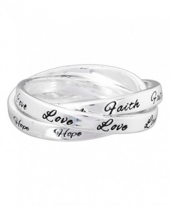 "Dicksons Silver-Plated Triple Band ""Faith Hope Love"" Ring - CA12G8RSHVT"