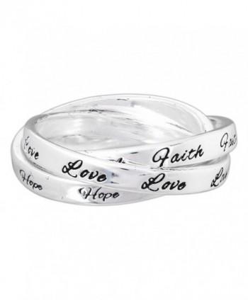 "Dicksons Silver-Plated Triple Band ""Faith Hope Love"" Ring - CA12G8RSHVT"