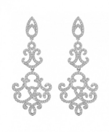 EVER FAITH 925 Sterling Silver Cubic Zirconia Vintage Inspired Art Deco Chandelier Dangle Earrings Clear - C9127YF240J