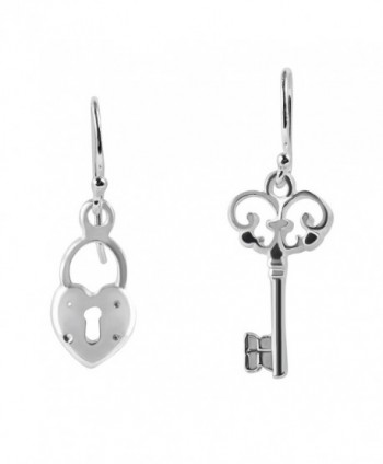 Key to My Loving Heart Lock .925 Sterling Silver Dangle Earrings - CP12MWZXK8T