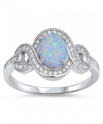 CHOOSE YOUR COLOR Sterling Silver Vintage Infinity Ring - White Simulated Opal - C212MX6N2F6