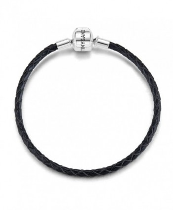 "TINYSAND Genuine Leather Woven Basic Bracelet with 925 Sterling Silver Snap Clasp Charms-6.7""/7.1""/7.5"" - CO185QRR0I4"