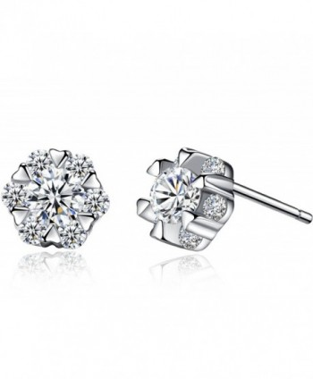 anewish Clear Cubic Zirconia Sterling Silver Stud Earrings - C317YXKG27T