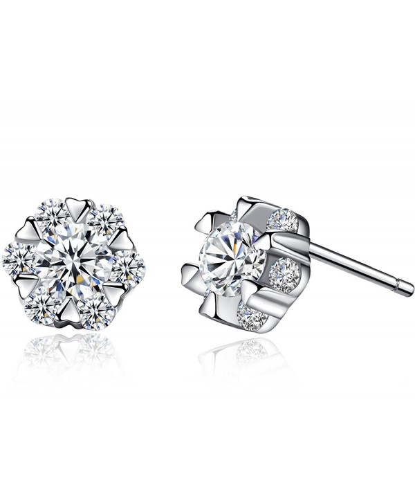 anewish Clear Cubic Zirconia Sterling Silver Stud Earrings - C317YXKG27T