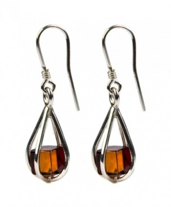 Amber cube Sterling Silver Millennium Collection Teardrop Earrings - CC113D140AZ