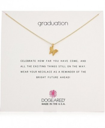 "Dogeared Reminder Graduation- Graceful Butterfly Chain Necklace- 16"" + 2"" Extender - Gold - CT17YHRD3OT"