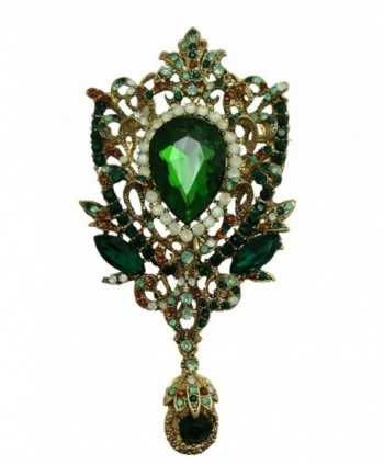 TTjewelry Fashion Gold-Tone Crown Flower Green Crystal Brooch Pendant - Green - C212563T2MT
