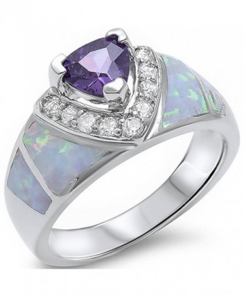 Simulated Amethyst- Lab Created White Opal- & Cz New Fashion .925 Sterling Silver Ring Sizes 5-10 - CH11MBJYKPB