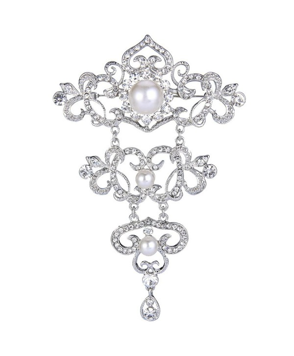 EVER FAITH Silver-Tone Crystal Cream Simulated Pearl 4.5 Inch 3 Layer Floral Vine Tear Drop Brooch Clear - C2126EQEGPF