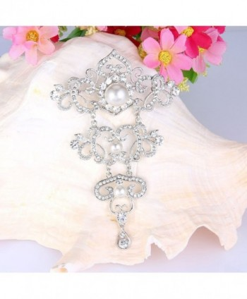 EVER FAITH Silver Tone Crystal Simulated in Women's Brooches & Pins