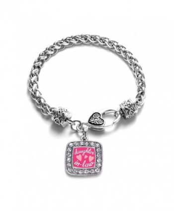 I Love My Daughter In Law Family Charm Classic Silver Plated Square Crystal Bracelet - CC11LXN9TQV