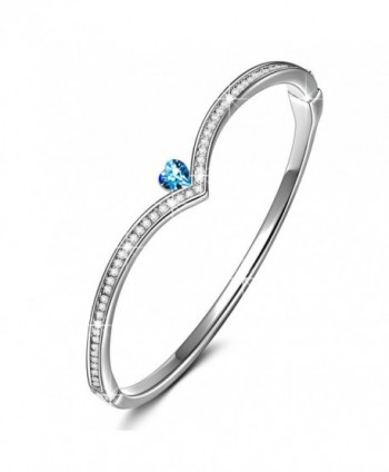 "LadyColour ""Queen"" Heart Design Crown Bangle Bracelet Crystals From Swarovski Push-Button Closure 7"" - CP12G7ND4GR"