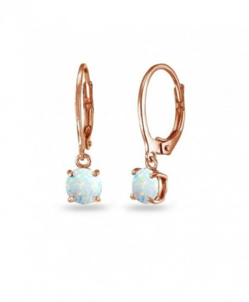 Flashed Sterling Created Leverback Earrings - October – Sim. Opal - CZ1857R00R5