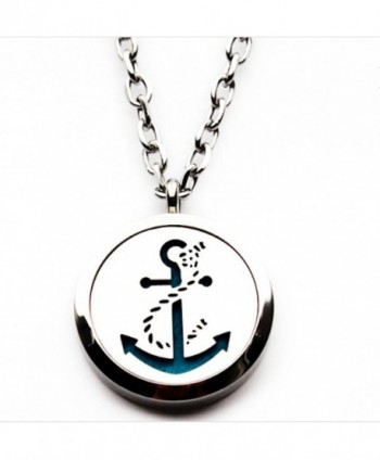 'Anchor' Essential Oil Diffuser Necklace Aromatherapy Pendant- Jewelry Bag- and Extra Pads - CG12O3Z3UNC