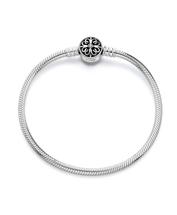 Long Way 925 Sterling Silver Snake Chain Bracelet Basic Charm Bracelets for Teen Girls Women - C7185D0Y5Y5