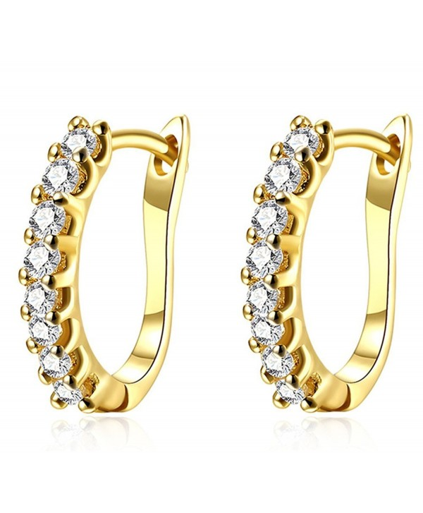 Girls' Women's Stylish Jewelry Crystals U Shape 18k Gold Alloy Leverback Simple Charm Earrings - yellow gold - C317Z4RZQ0T