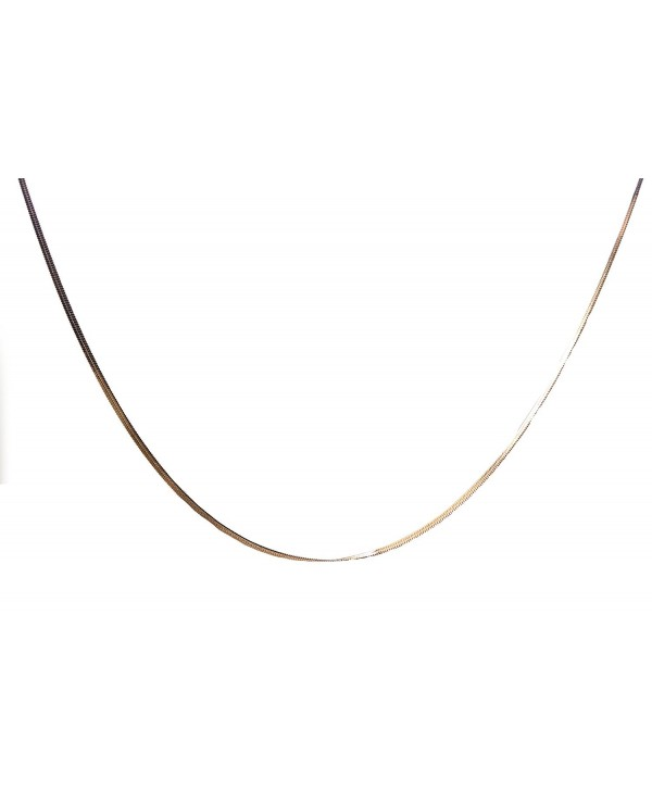 Chelsea Jewelry Basic Collections Italian Designed 2.5mm Wide 18K Rose Gold Super Flat Snake Chain Necklace - C112C5F053L