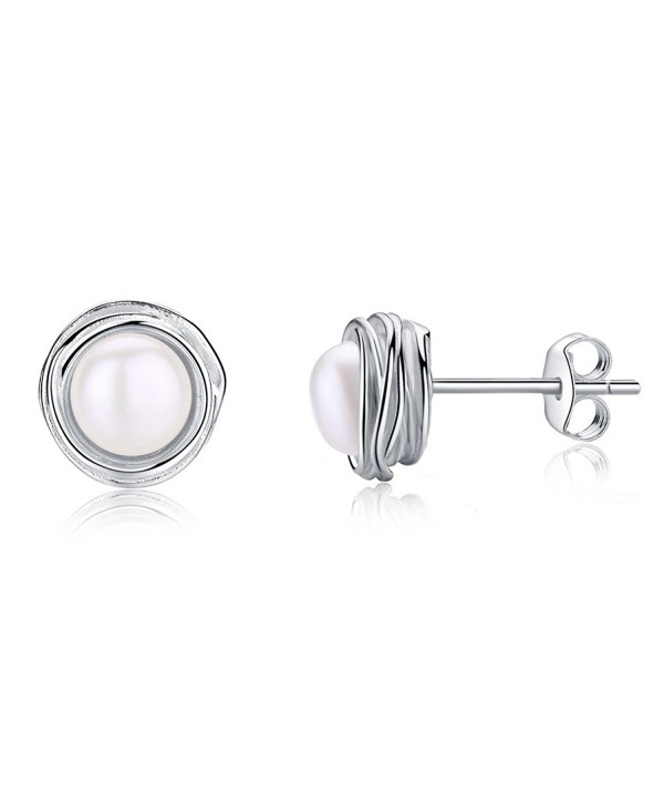 EVERU Sterling Silver Flower Stud Earrings with AAA Freshwater Pearls with an Exquisite Gift Box - CR184QQZ2YG