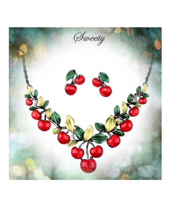 Hamer Women's Red Cherry Party Jewelry Set Statement Necklace and Earrings - C2122NSE9MN