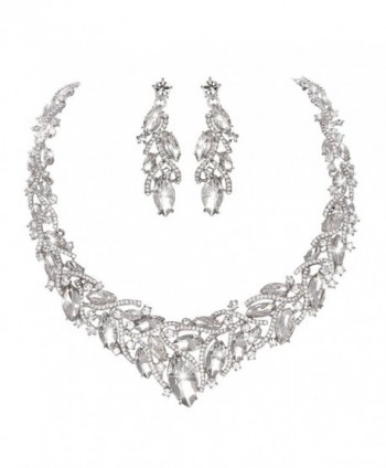 Youfir Women's Elegant Austrian Crystal Necklace and Earrings Jewelry Set for Wedding Dress - Clear - CE17Z5NGS2M