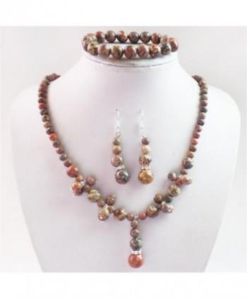 Teng Yu Fashion Leopard Skin Jasper Round Gemstone Beads Necklace Earrings Bracelet Set - CM11TLPOITB