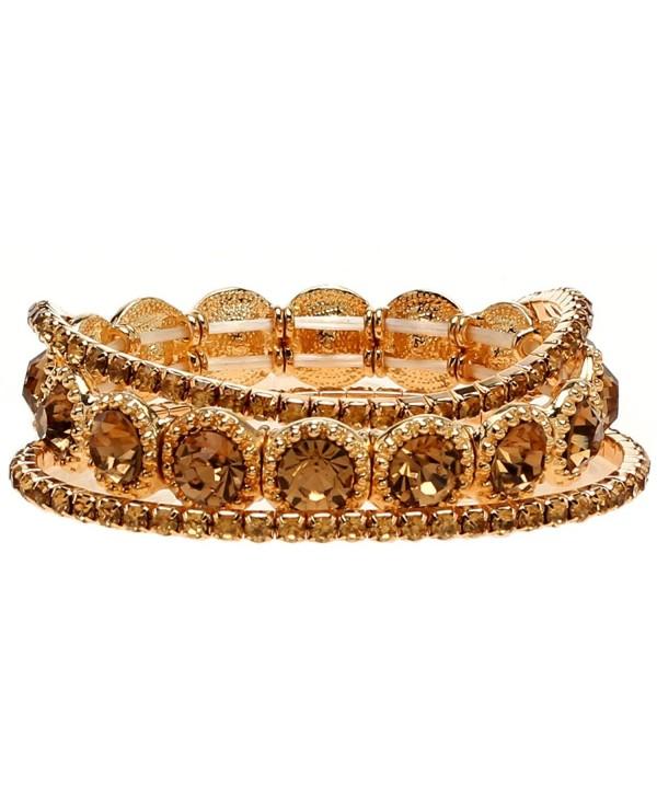 Lova Jewelry Amber Tone Brown Gold Tone Elastic Crystal Bracelets - CJ12OE24MRS