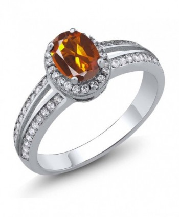 1.00 Ct Oval Orange Red Madeira Citrine Gemstone 925 Sterling Silver Ring (Available in size 5- 6- 7- 8- 9) - C511HB44K83