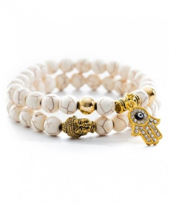 Gems of Peace - Antique White & Gold Buddha Hamsa Charm Bracelet - CB128T943UD