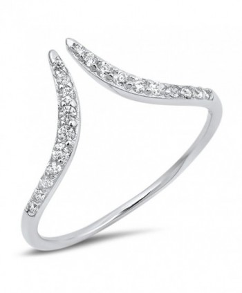 Open Pointed Chevron Wave Clear CZ Ring New .925 Sterling Silver Band Sizes 4-10 - CB1820L3CH4