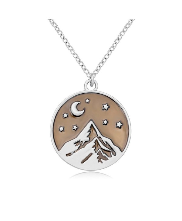 SENFAI Mountain Top Star Half Moon Pendant Necklace Perfect Gift for Climbing Hiking Sports - CE184IY8GAL