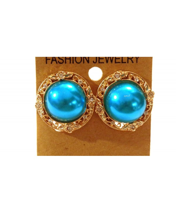 Clip-on Earrings Gold Tone Metallic Pearl Accent Clip Earrings - Blue - C7129SPR1QF