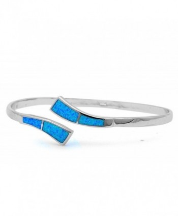 "Lab Created Opal .925 Sterling Silver Bangle Bracelets 7.25"" - Blue - CA11ZXDXF4J"