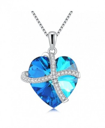 Grace Women's Necklace-Heart Necklace Pendant Necklace Made with Austria Crystal- Fashion Jewelry - Blue - CR182HG2H03