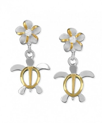 Sterling Silver with 14kt Yellow Gold Plated Accents Small Turtle and Plumeria Dangle Earrings - CM1152JL6AX