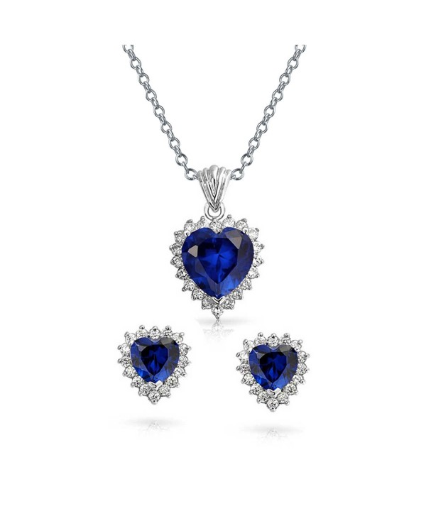 Bling Jewelry Blue Sapphire Color CZ Heart Pendant Necklace Earring Set 18 Inch - CD11FUFM0YL