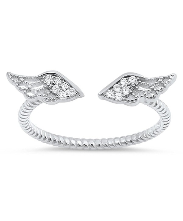Angel Wings White CZ Cute Ring New .925 Sterling Silver Bali Band Sizes 3-10 - C512MA44BYN