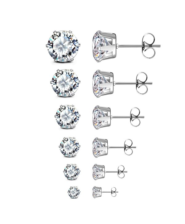 JewelrieShop Earrings Earings Hypoallergenic Nickel free - M30. 5 Pairs White- Round CZ Design- 6 Prong - C411F5J7ZRJ