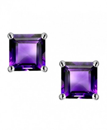 Star K Sterling Silver Square Cut 7mm Earring Studs - Amethyst - CJ116YFGY9D