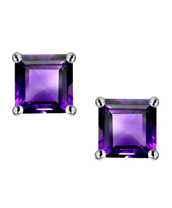Star K Sterling Silver Square Cut 7mm Earring Studs - Amethyst - CJ116YFGY9D
