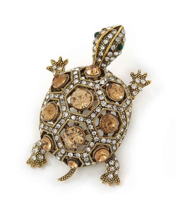 Vintage Inspired Clear/ Citrine Austrian Crystals Turtle Brooch In Antique Gold Metal - 55mm L - C4128XUEN1R