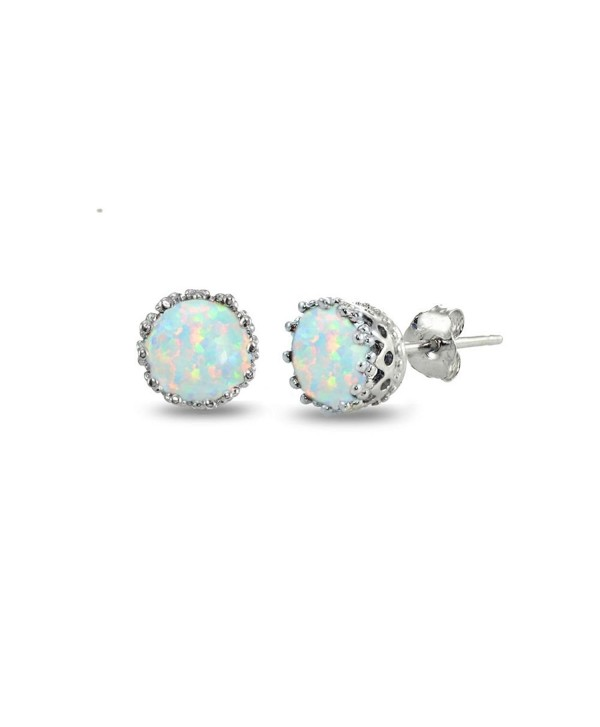 Sterling Silver Created White Earrings - Created White Opal-October - CA182Y0LS4H